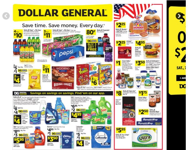 Dollar General's weekly ad.