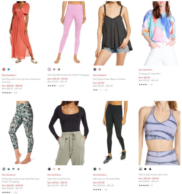 A number of clothing items on sale.