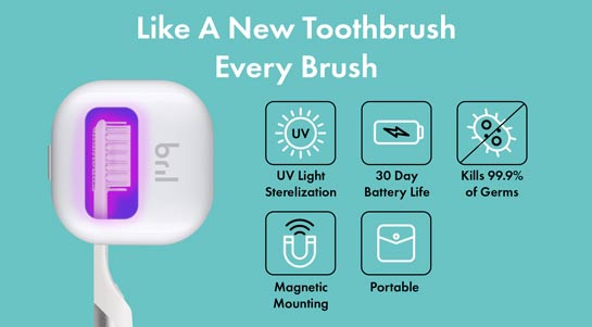 Main features of the Bril toothbrush cleaner.