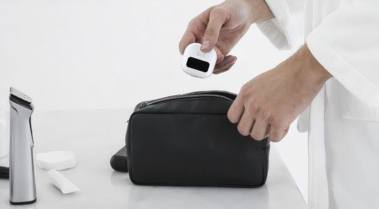 The Bril toothbrush cleaner is compact and travel-ready.